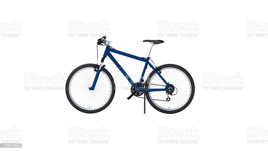Blue mountain bike on a white background stock photo