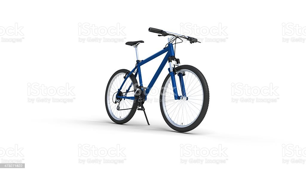 Blue mountain bike stock photo