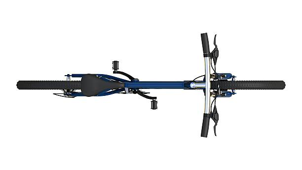 blue mountain bike - bastidor de la bicicleta fotografías e imágenes de stock