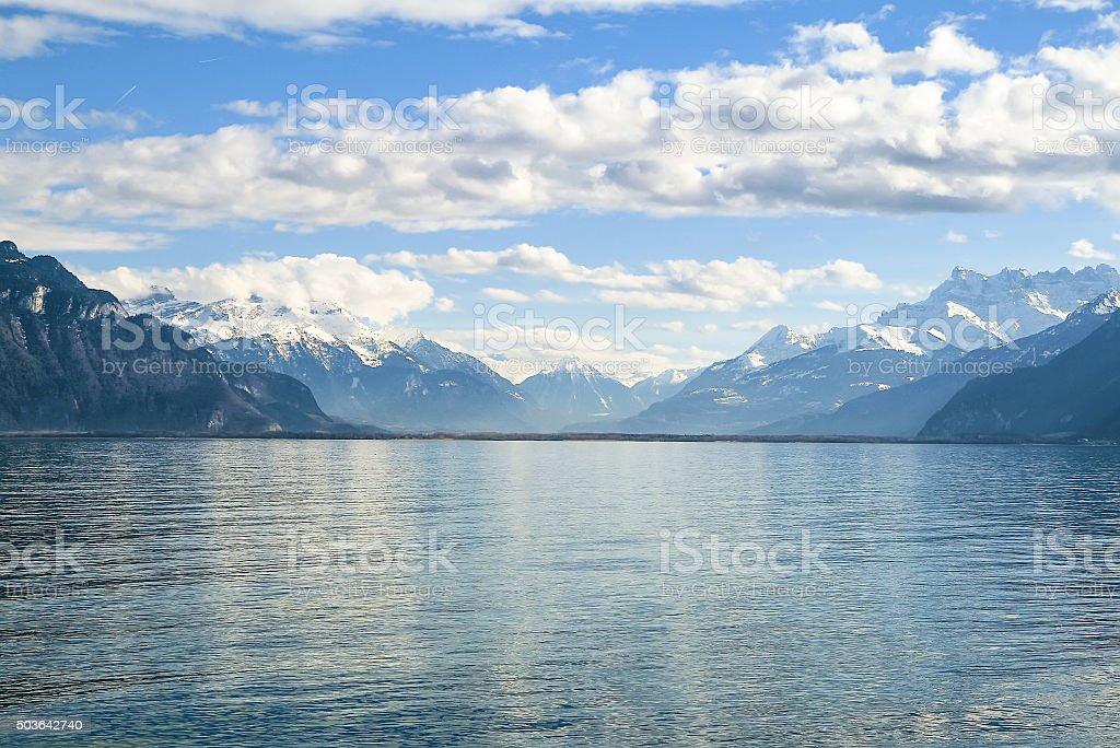 Blue Mountains around Lake Geneva stock photo