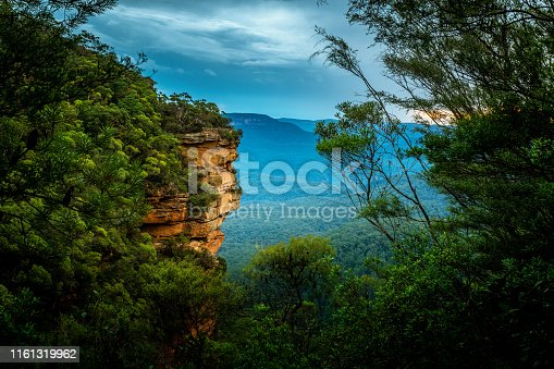 Sandstonec cliffs and  bushland valleys of Blue Mountains Australia