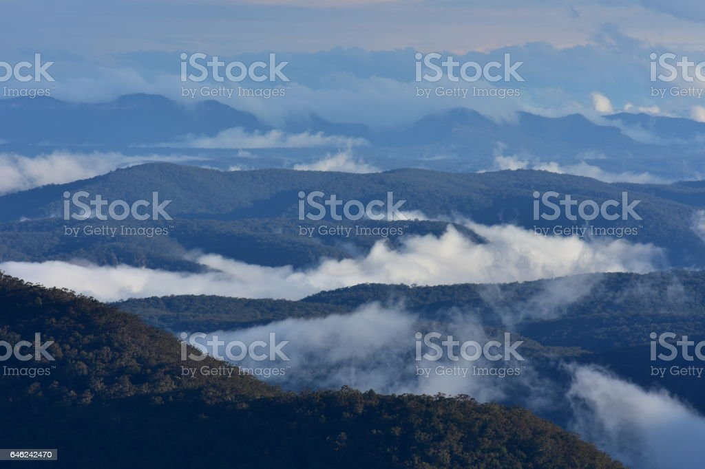Blue Mountains in evening light stock photo