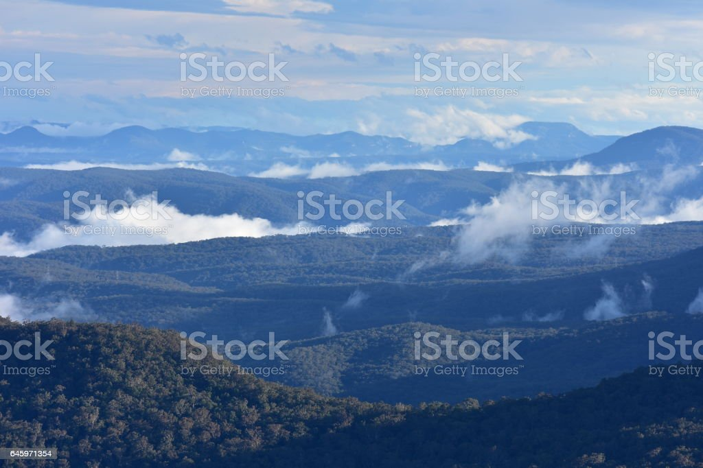 Blue mountains in evening stock photo