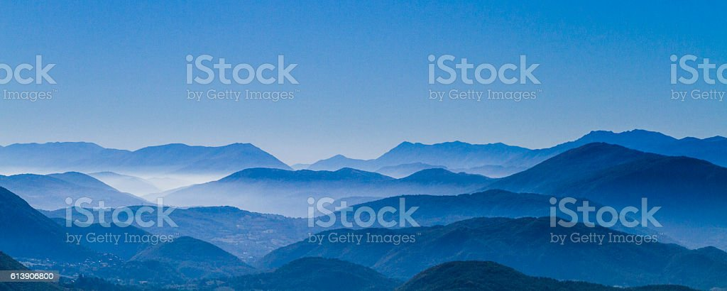 Blue mountains in the Apennines stock photo