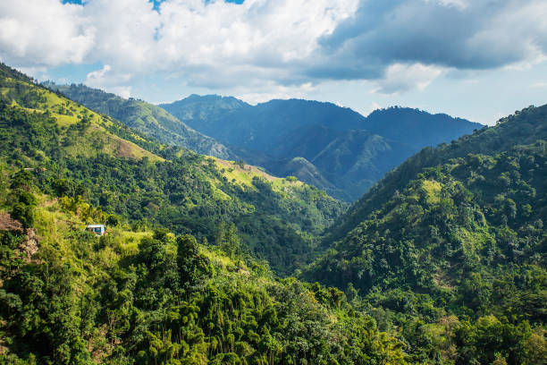 Blue mountains of Jamaica where coffee is grown stock photo