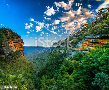 Lookout from trail at blue mountains just before sunset.