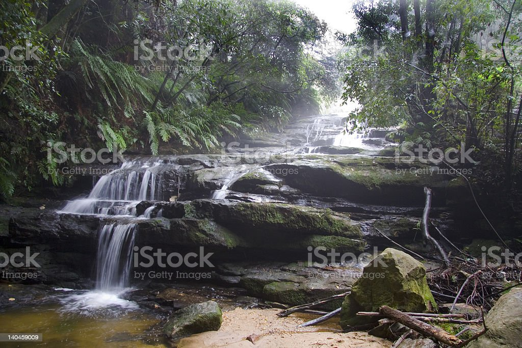Blue Mountains Waterfall in Mist royalty-free stock photo