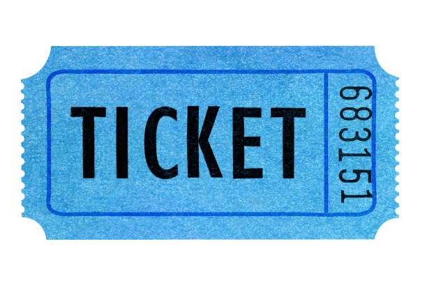 Blue movie ticket isolated on white stock photo