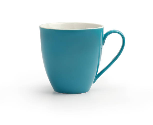 blue mug isolated on white background stock photo