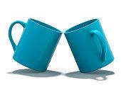 Blue mug Mockup standing on the surface. 3D rendering