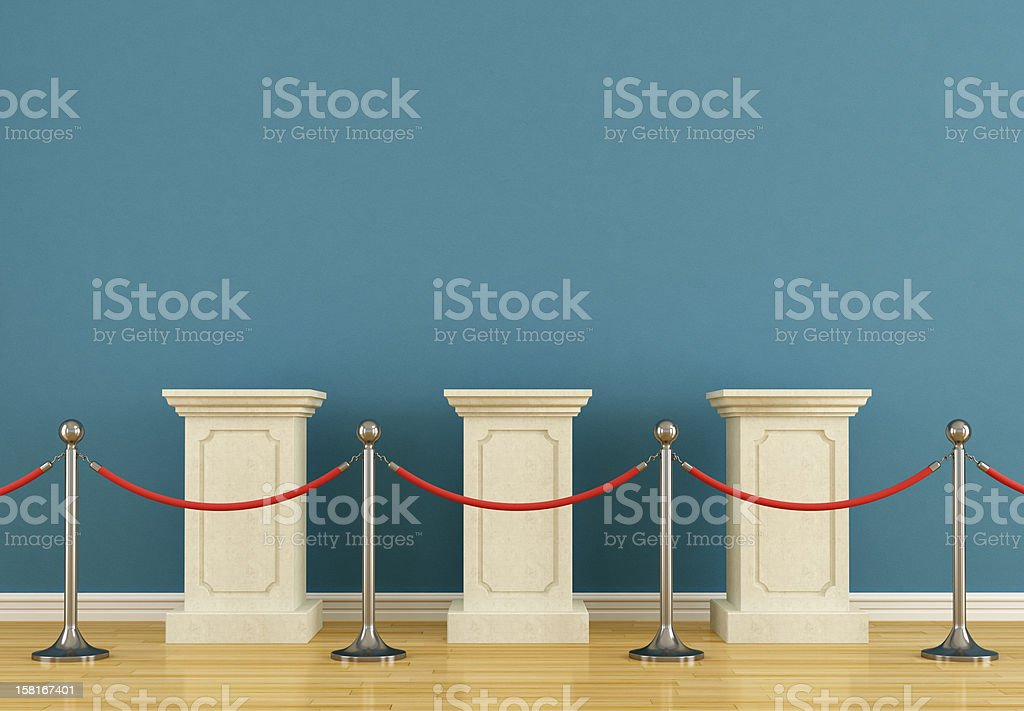 Blue museum with pedestal stock photo