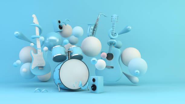 Blue music instruments stock photo
