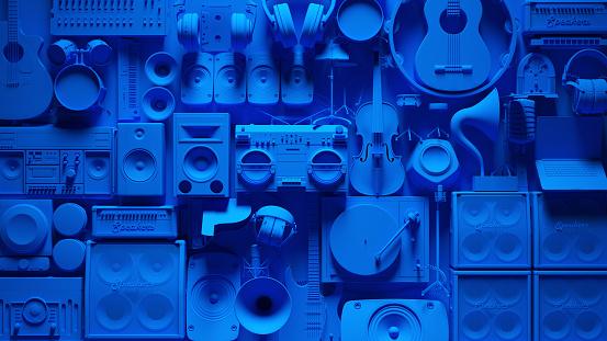 Blue Musical Instrument Wall 3d illustration 3d