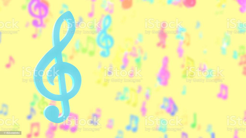 Blue musical notes on blurred musical notes pastel color background....