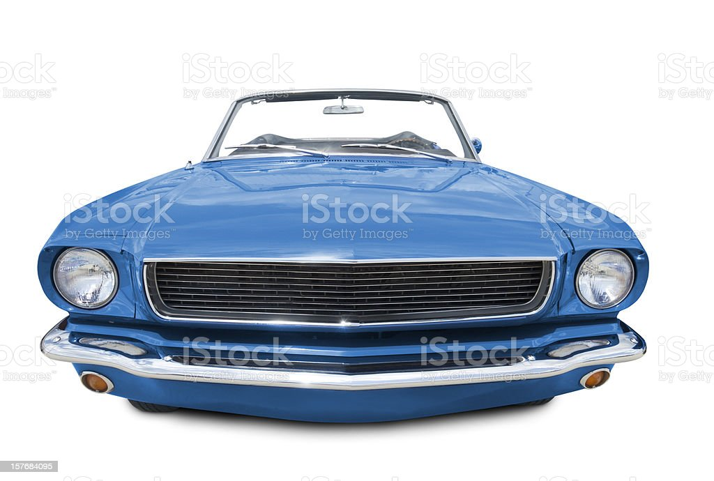 Blue Mustang Convertible 1966 stock photo
