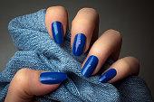 blue nails manicure