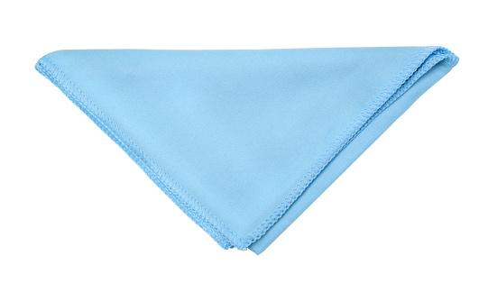 Blue microfiber napkin isolated on white.