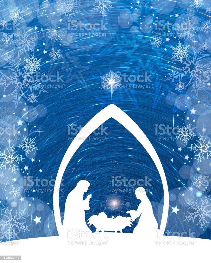 Blue Nativity stock photo
