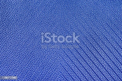 istock Blue natural leather texture close-up . Top view , copy space . 1190717582