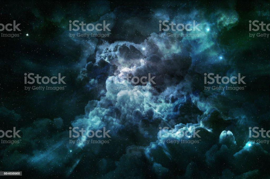 blue nebula and cosmic dust stock photo