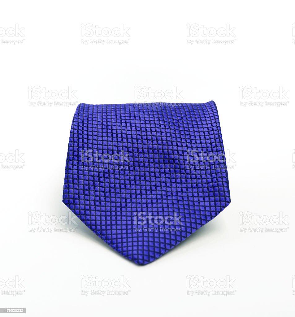 Blue necktie on white background stock photo