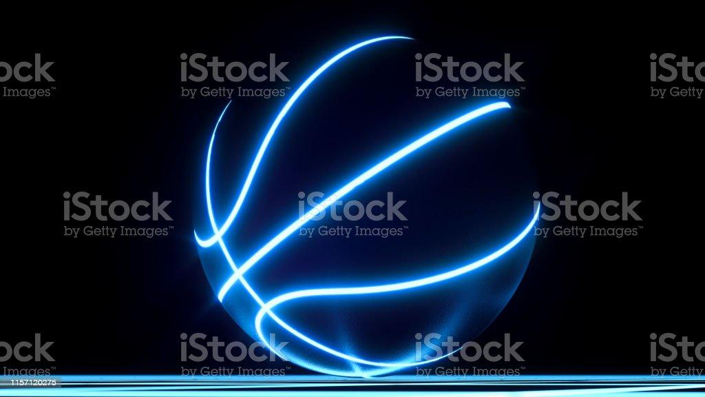 Blue Neon Basketball Ball On Crisscross Pattern Floor Wallpaper