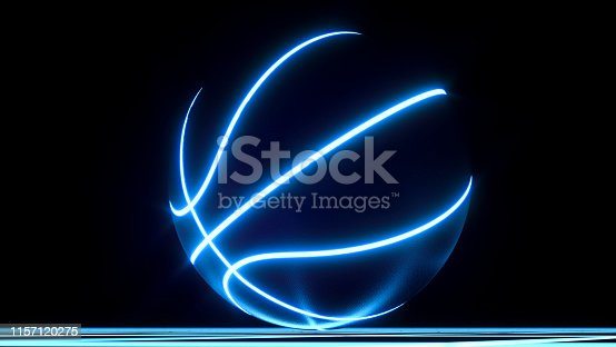 3D digital rendering of single blue neon basketball ball not moving on top of blue glowing crisscross pattern floor. For your flyer or webbanner