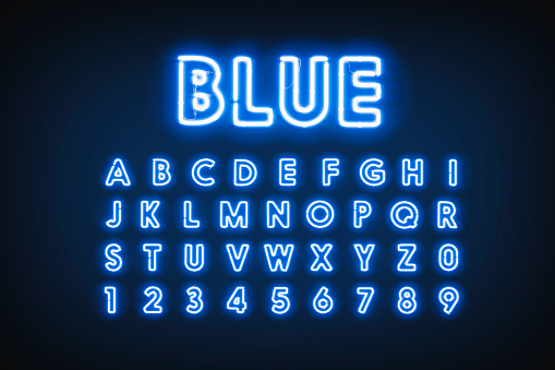 Blue neon capital letters and numbers, helium lighting font, 3d rendering. Facia diode typeface with backlight bright. Agleam symbols with date and uppercase set template.