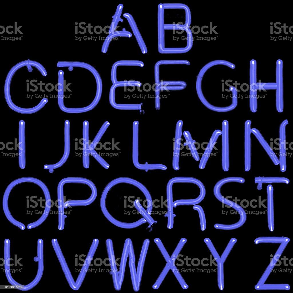 Blue Neon Latin Alphabet stock photo