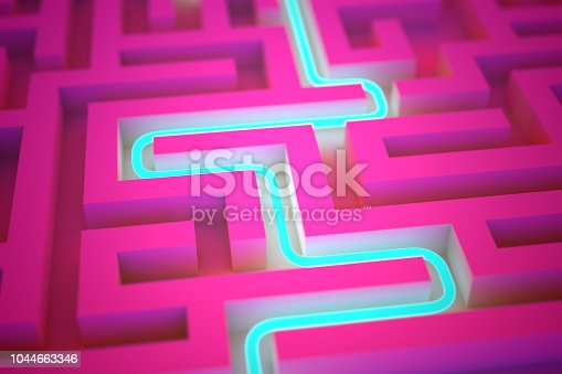 istock Blue neon path across abstract endless labyrinth 1044663346