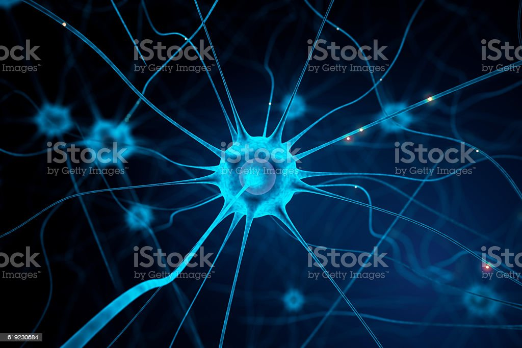 Blue nerve cell stock photo
