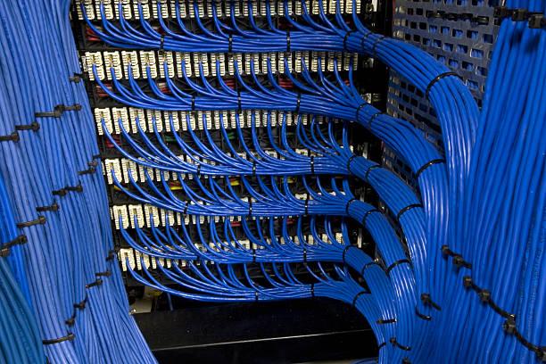 câbles réseau bleu - câble d'ordinateur photos et images de collection