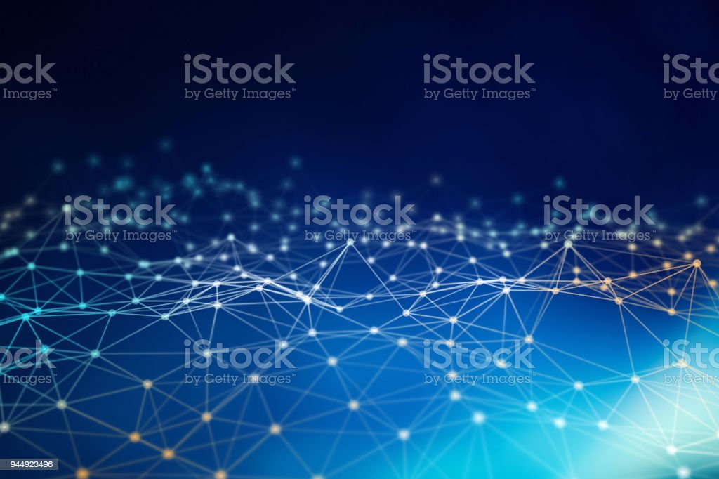 Blue network connection lines. Futuristic background for technology concept, abstract illustration stock photo