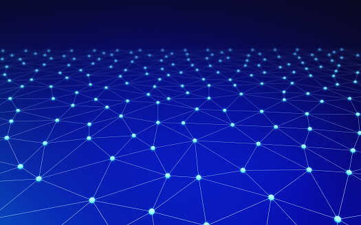 944923496 istock photo Blue network connection lines. Futuristic background for technology concept, 3d abstract illustration 950791260