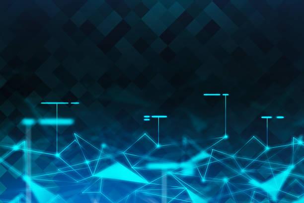 Blaues Netzwerk polygonaler futuristischer Hintergrund – Foto