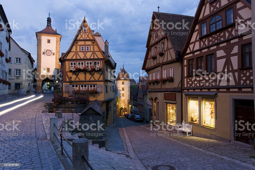 Blue night over german city of Rothenburg royalty-free stock photo