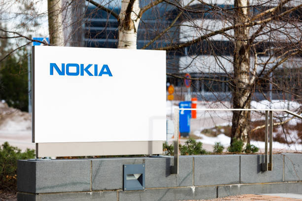 Blue Nokia logo on white board stock photo