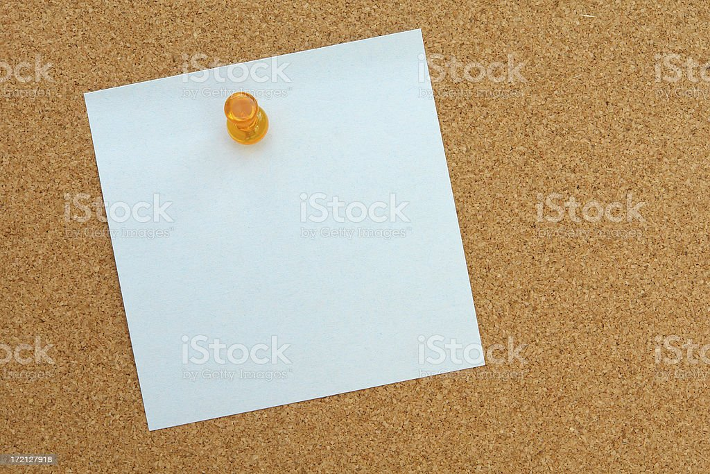 Blue note on cork royalty-free stock photo