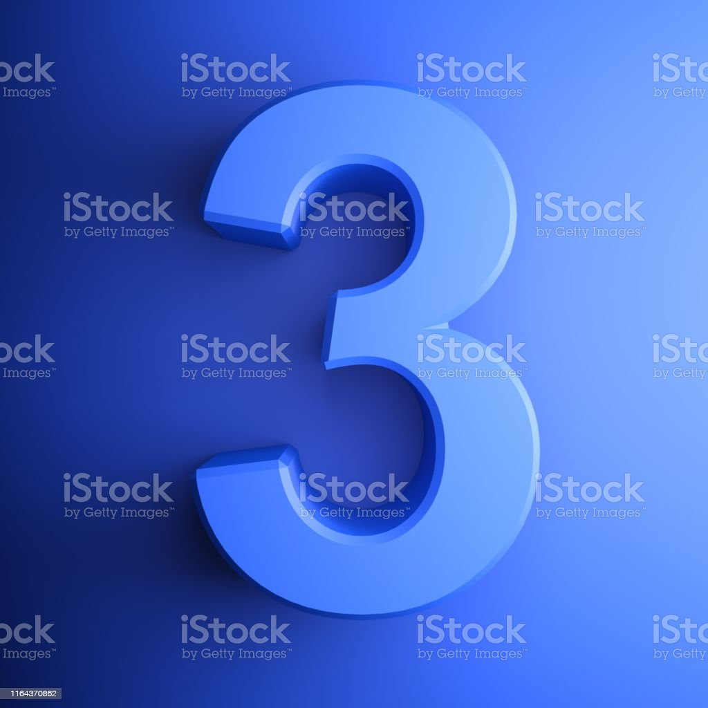 Blue Number 3 Square Icon 3d Rendering Illustration Stock