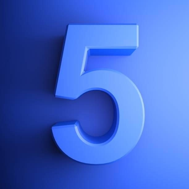 파란색 숫자 5 사각형 아이콘 - 3d 렌더링 일러스트레이션 - 5명 뉴스 사진 이미지