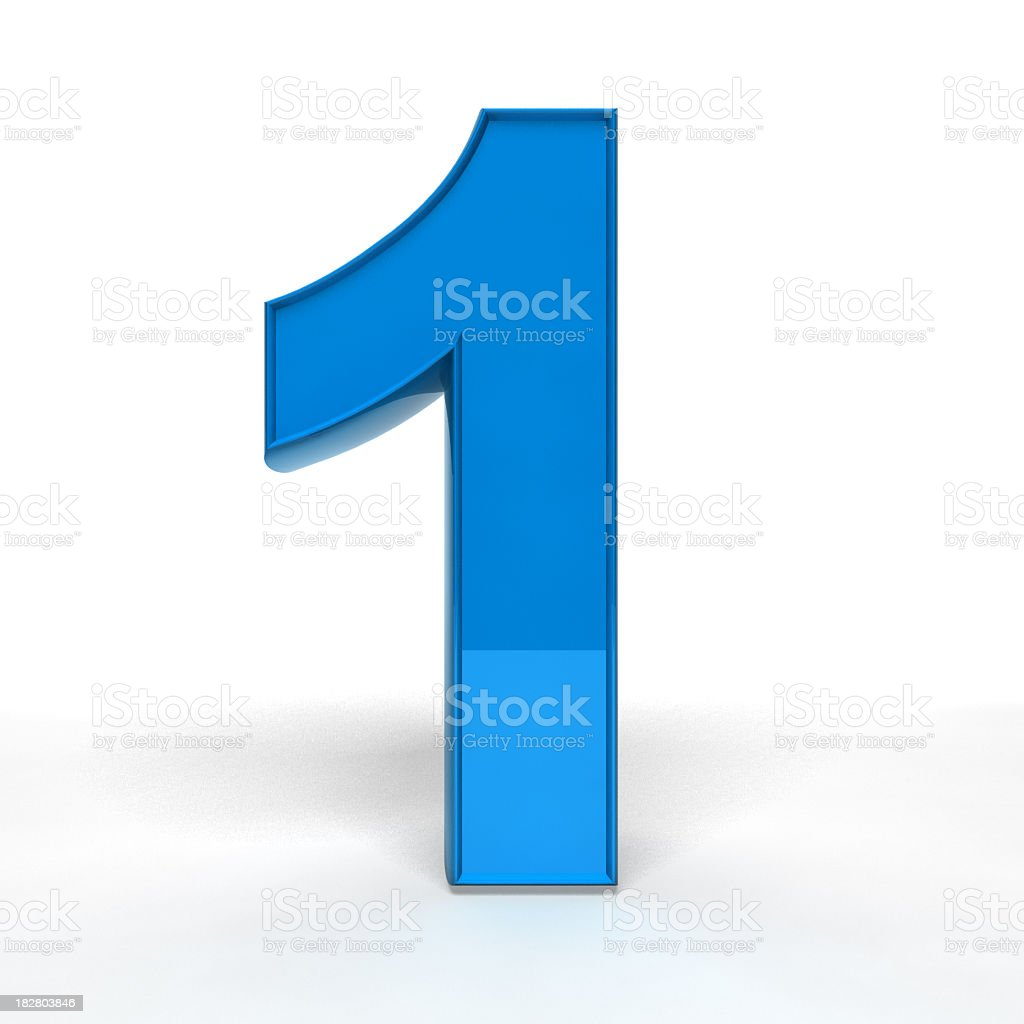 A blue number one on a white background  royalty-free stock photo