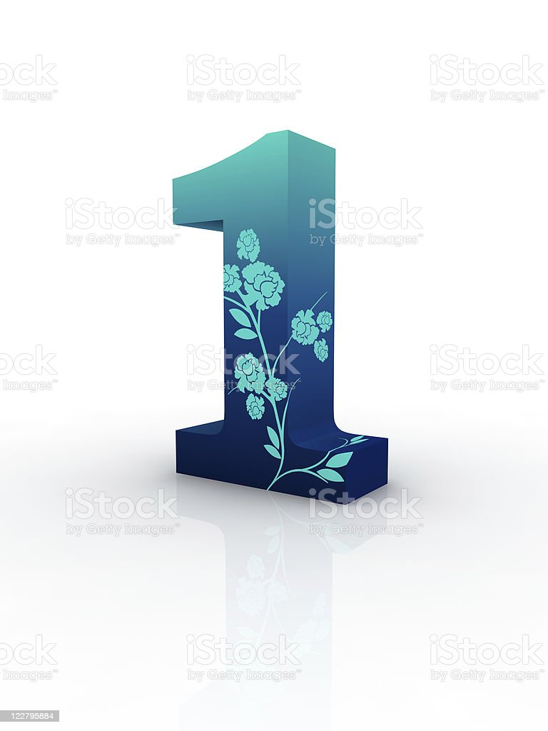 blue number one royalty-free stock photo