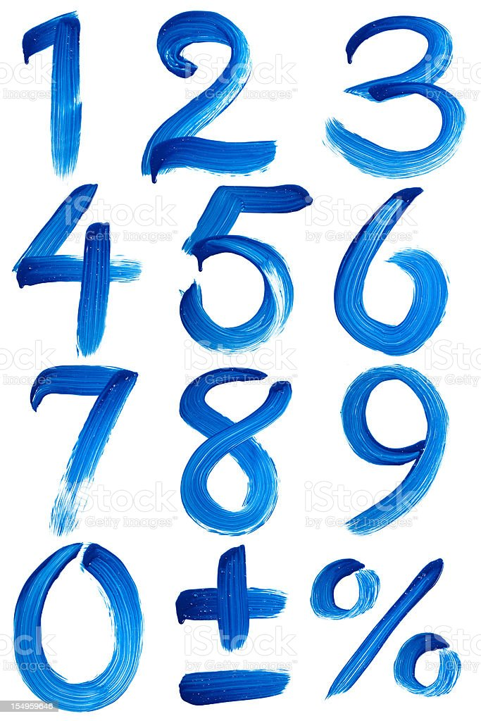 Blue numbers painted with paintbrush on window royalty-free stock photo