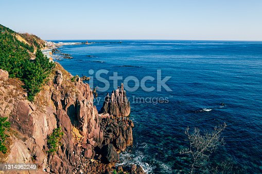 Blue ocean and cliff from Haeoreum observatory in Pohang, Korea