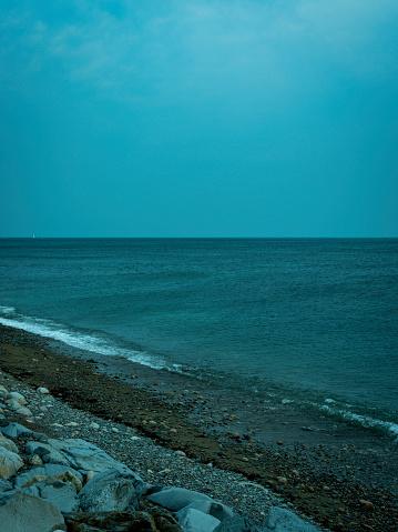 Seascape over the Atlantic Ocean on the Scituate beach in Massachusetts.