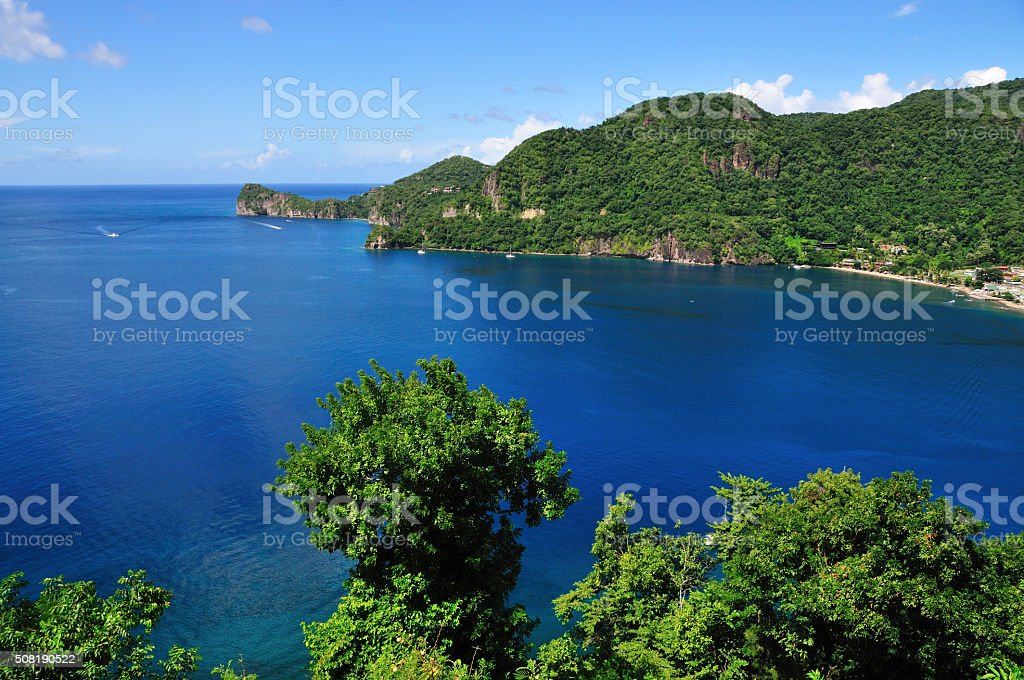 Blue ocean in Soufriere stock photo