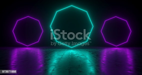 973972612 istock photo Blue Octagon Shaped Neon Lights With Reflections On The Floor. 3D Rendering  Illustration 973971888