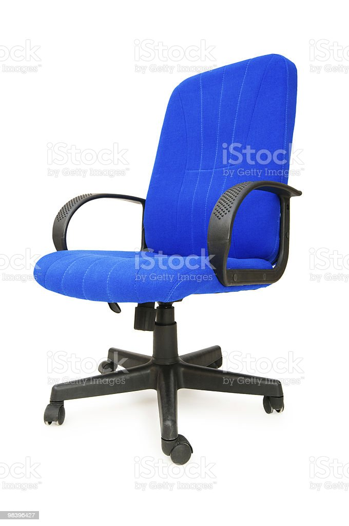Blue office chair isolated on the white royalty-free stock photo