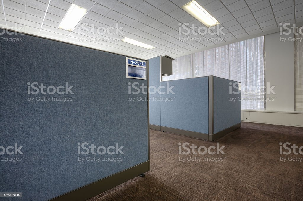 Blue Office Cubical royalty-free stock photo