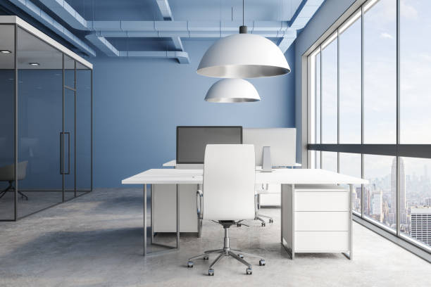 Blue office interior with city view stock photo